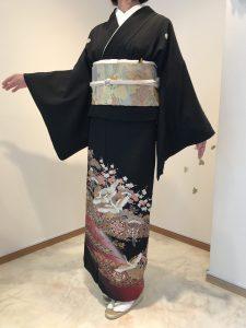 410215 45000円 66㎝鶴 裾紫